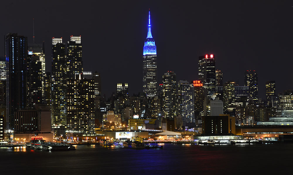 NEW YORK, NY - APRIL 2: The Empire State Building is lit in blue in Celebration Of World Autism Awareness Day on April 2, 2015 in New York City, New York. NOTE TO USER: User expressly acknowledges and agrees that, by downloading and/or using this photograph, User is consenting to the terms and conditions of the Getty Images License Agreement. Mandatory Copyright Notice: Copyright 2015 NBAE (Photo by David Dow/NBAE via Getty Images)